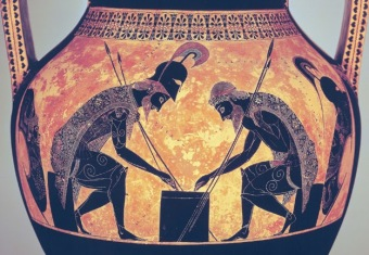 Greeks playing board game